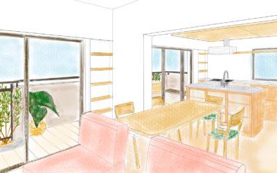 現在、施工中のマンションリノベのイラストを描いてみました。